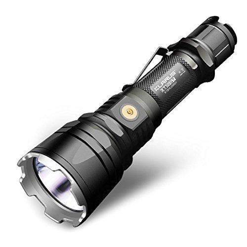 KLARUS XT12GT Linterna Caza LED de 1600 lumens IPX8 - Haz de luz 603m Linterna de Caza con batería 18650 recargable de 3600mAh con carga magnética externa - CREE XHP35 Hi D4