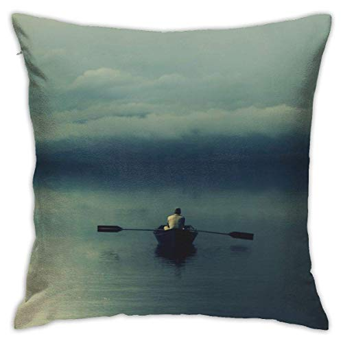 Throw Pillow Cover Cushion Cover Pillow Cases Decorative Linen Boat In The Lake for Home Bed Decor Pillowcase,45x45CM