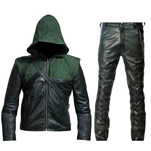 Fashion_First Stephen - Chaqueta de piel sintética con capucha para hombre