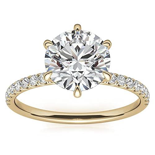 Customize Jewels Anillo de compromiso redondo de moissanita de 6 puntas de 1,00 quilates a 6,5 mm con diamante de laboratorio en oro amarillo de 14 k D-VVS1 7