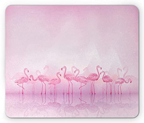 Flamingo-Mauspad, Herde karibischer Flamingos über See und Vögeln Abstrakter verträumter Reflexionsdruck, rechteckiges rutschfestes Gummimousepad, Standard Pale Pink