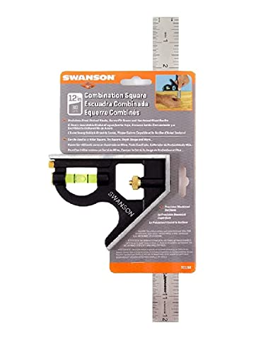 Swanson Tool Co TC132 12-Inch Combo Square with Cast Zinc Body, Stainless Steel Ruler and Brass Bolt