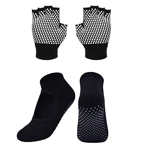 Cosmos Non-Slip Yoga Gloves and Socks Set Pilates Socks & Gloves Set for Women, Barre, Ballet, Bikram Training & Workouts (Black)