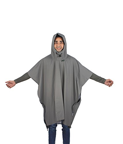 Rocksport Waterproof Polyester Rain Poncho with Hood - Free Size (Black)