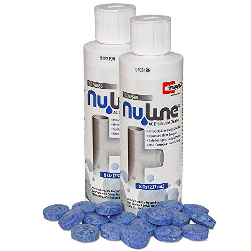 Fast Shipping! (2)-Pack NuLine HVAC Condensate 8 Ounce Nu-Line Drain Cleaner Plus (18) PT-200 Pan Tablets