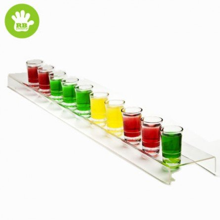 Schnapsglashalter / Shot tray in Acryl Plastik mit 10 x 2 Cl. (Transparent)