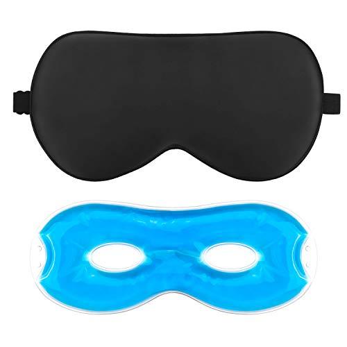 AJOXEL Antifaz para Dormir,Máscara De Dormir Antifaz Gel Frio para Hombre Mujer, 100% Seda Pura Máscara de Ojos con Tapón de Oído y Correas Ajustables Anti-Luz Cómoda para Viajar