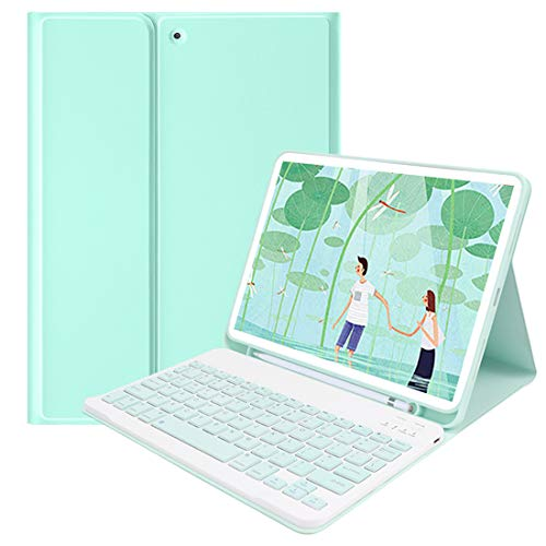 Lively Life Protective Case with Wireless Keyboard for iPad 10.2 8th 2020/7th Generation 2019, iPad Air 3 2019, iPad Pro 10.5 2017, Detachable Bluetooth Keyboard, Built-in Pen Holder -Green