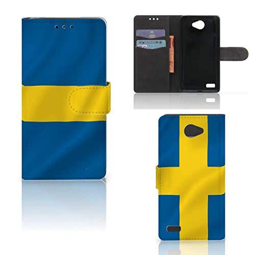 B2Ctelecom Kartenfach Tasche für LG Bello 2 Handyhüllen Schwedische Flagge