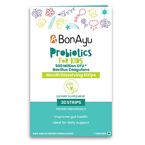 BonAyu Probiotics Mouth Dissolving Strips For Kids, For Healthy Gut, 30 Strips