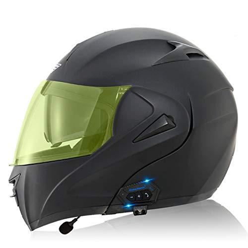 ZLYJ Bluetooth Casco de Motocicleta, Casco Cara Completo, Anti-Niebla/ccolisión Casco, Abierto Cascos Motocross, Marcado por Voz Llamada Manos Libres MP3 FM, Homologado ECE G,XL
