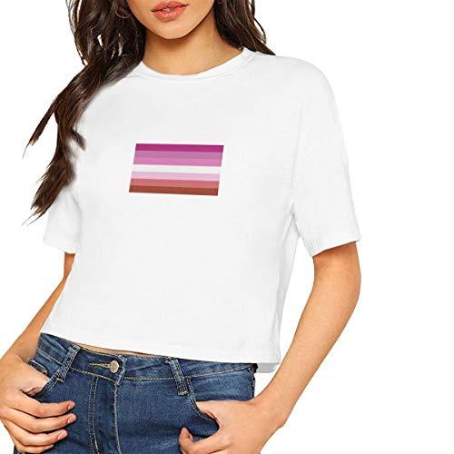Lesbian Pride Flag Women's Fashion Round Neck Short Sleeve Soild Basic Crop Top T-Shirt