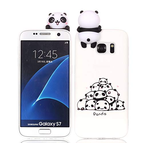 HongYong Cute 3D Panda Case for Samsung Galaxy S7,Ultra Slim Fit Soft Silicone Gel Bumper Shockproof Protective Cartoon Phone Case with Lovely Animal Pattern for Samsung Galaxy S7,White