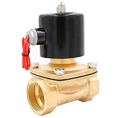 Baomain Brass Electric Solenoid Valve NPT 1-1/2 Inch DC 12V Thread Direct Acting Normally Closed Compatible with Water Air by Baomain Electric Co.,Ltd