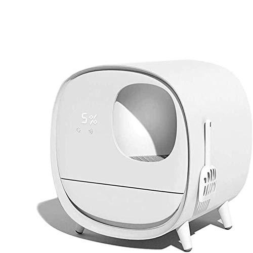 EDTXN Lettiera for Gatti con Pulizia Automatica, Completamente Chiuso WC Elettrico Intelligente for Gatti Cassetto autopulente Lettiera for Gatti in ABS - Ricarica USB Integrata, Display Digitale LCD