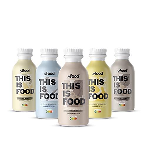 yfood Probierpaket | Leckere Trinkmahlzeit für unterwegs | THIS IS FOOD Drink | 34g Protein, 26 Vitamine und Mineralstoffe | 5 Sorten Tasterpack (5 x 500ml)