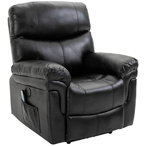 HOMCOM Massagesessel Relaxsessel mit Wärmefunktion und Vibration 160°-Liegeposition PU Schwarz 94 x 93 x 106 cm