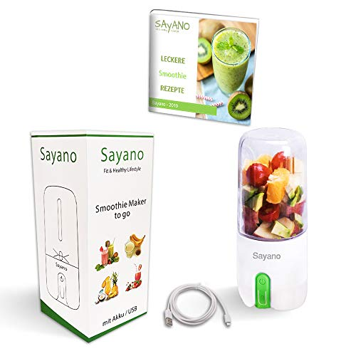 Sayano – Premium Smoothie Mixer/Maker to go per USB aufladbar (Grün, 480ml)