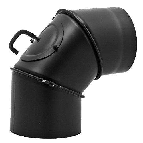 Ofenrohr Winkel drehbar 0° - 90° 3-teilig mit Drosselklappe und Tür für Kaminrohe/Raurohre/Ofenrohre mit Ø 150mm in schwarz