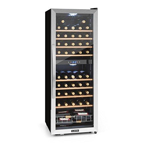 KLARSTEIN Vinamour - Cave à vin, Etagères en bois amovibles, Porte en verre, Panneau de commande tactile, Ecran LCD, Eclairage intérieur, Plage de température: 5 à 18°C - 54 bouteilles, Argent