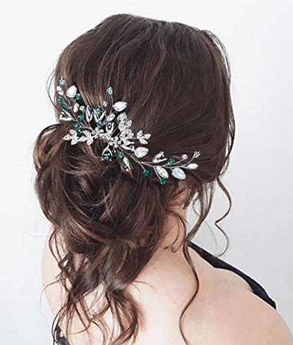 Unicra Bride Wedding Hair Comb Silver Headpiece Opal Crystal Hair Accessories Green Rhinestone Hair Combs for Women and Girls