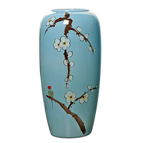Vasen Mode Bodenvase chinesische Keramikvase Wohnzimmer Home Art Flower Arrangement Couchtisch Beistelltisch Flower Arrangement (Color : Blue, Size : 26x26x50cm)