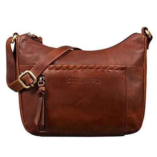 STILORD \'Penny\' Lederhandtasche Damen Umhängetasche Leder Handtasche Frauen Umhängen Vintage für Damen-Tasche Abendtasche Echtleder Tasche, Farbe:Porto - Cognac