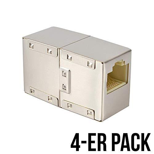 VESVITO 4-er Pack RJ45 LAN Kabel Crossover Kupplung geschirmt Verbinder Netzwerk Netzwerkkabel Modular Coupling Patchkabel für Verlängerung Ethernetkabel Adapter Netzwerkkoppler