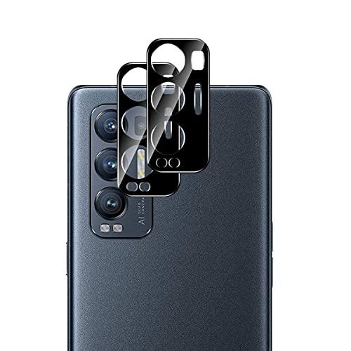 Aerku Kamera Panzerglas Schutzfolie für Oppo Find X3 Neo 5G, [Vollständige Abdeckung] Kamera Panzerglasfolie Bildschirmfolie [2 Stück] 9H Festigkeit HD Anti-Kratzen Protector - Schwarz
