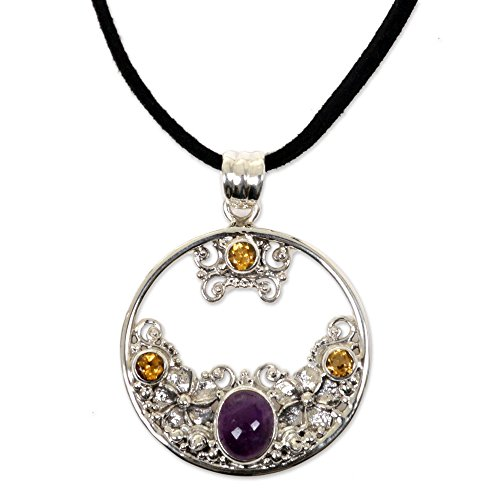 NOVICA Sterling Silver Citrine and Amethyst Floral Pendant Necklace, 18.5