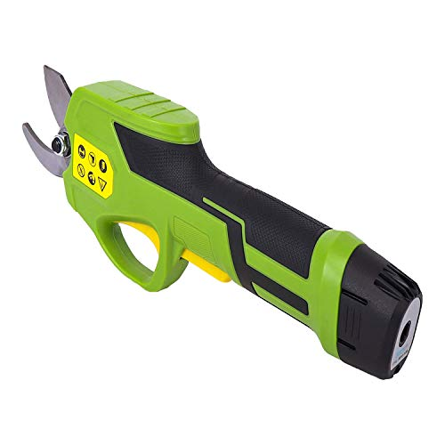 SereneLife PSPR170 Pruner Metal 7.2v Lithium-ion Rechargeable Battery Powered Electric Pruning Shears Garden Trimmer Hand Held Cordless Tree Branch Cutter w/Safety Switch, Green