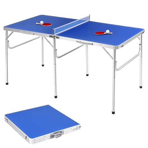 GOPLUS Table de Ping Pong Pliable avec 2 Balles et 2 Raquettes, Idéal...