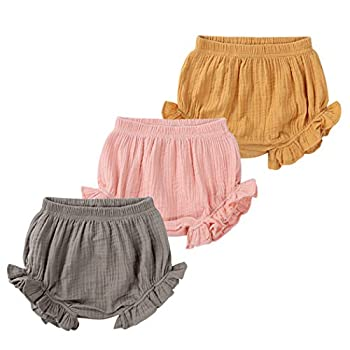 MYGBCPJS 3 Pack Baby Ruffle Bloomers Shorts Toddler Boys Girls Cotton Linen Diaper Cover Infant Comfy Panty