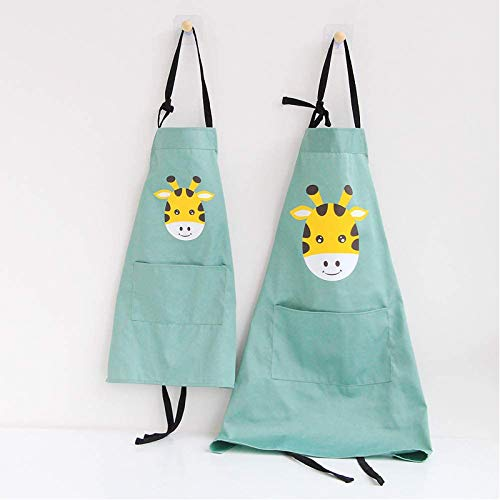 Lovely Animal Parent and Child Apron, Comfortable Simple Cotton Apron with Pocket for Painting Cooking Artist Chef, Pack of 2 (Giraffe)