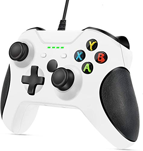 Xbox One Wired Controller, YAEYE Wired Xbox One Game Controller USB Gamepad Joypad Controller with Dual-Vibration for Xbox One PC Windows 7/8/10 (White)