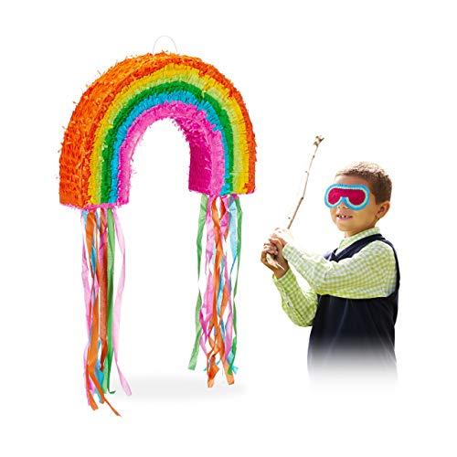 Relaxdays Pignatta a Forma di Arcobaleno, da Riempire, per Feste di Compleanno dei Bambini, da Appendere, in Carta, Grande, Multicolore, 10025179