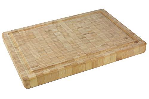 3cm Dickes Bio Bambus Schneidebrett [36x25,5x3cm] Luxuriös & Doppelseitig - Bambus Holz Platte - Serviertablett - Tranchierbrett - Holzschneidebrett - Hackbrett - Schneidebrettern Holzbrett