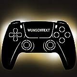Gaming Controller 5 Lampe aus Holz - personalisierbares Geschenk für...