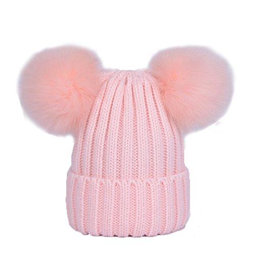 ECYC Bonnet Pom Pom Beanie Hat, Chapeau Thermique Extensible, Rose