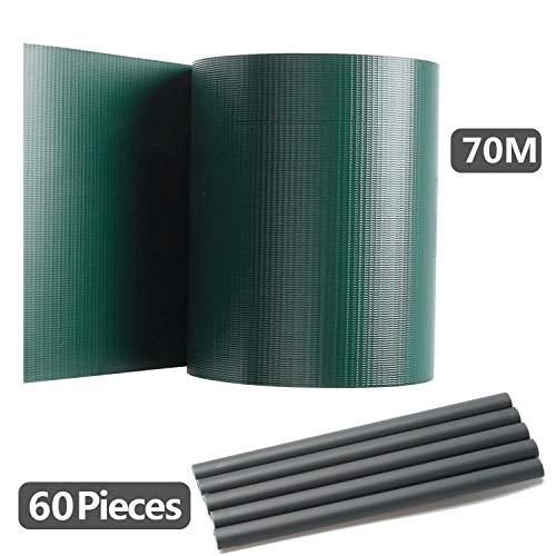 Hengda Sichtschutzstreifen für Doppelstabmatten, 70 m x 19 cm mit 60 Clips, PVC Sichtschutzfolie für Zaun, Gartenzaun, Doppelstabmattenzaun, Sichtschutz, Grün, Beidseitiger Druck