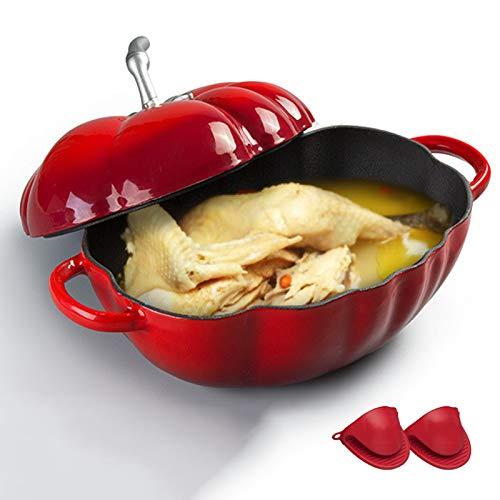Cocotte Aux Tomates En Fonte, Cocotte En Fonte Émaillée Au Four Hollandais Avec Des Gants En Silicone, Pour Viandes Et Légumes À Cuisson Lente, Meilleur Cadeau,Rouge