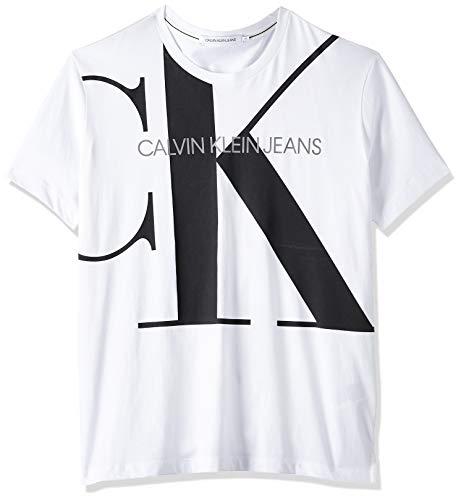 Calvin Klein Upscale Monogram Logo Reg Tee T-Shirt, Bianco (Bright White Yaf), Large Uomo