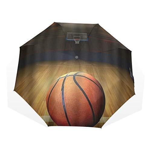LASINSU Mini Ombrello Portatile Pieghevoli Ombrello Tascabile,Stampa artistica di basket,Antivento Leggero Ombrello per Donna