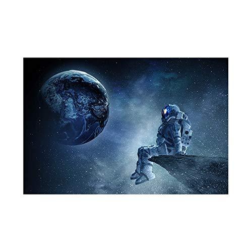 Moderno y solitario astronauta cielo estrellado sueño mirando estrellas tierra traje espacial lienzo pintura pared arte póster impresiones dormitorio sala de estar oficina estudio decoración del