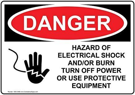 wendana gevaar gevaar van elektrische schok en/of branden uitschakelen macht of gebruik beschermende apparatuur Osha veiligheidssignaal, aluminium, metalen waarschuwingsborden, prive-teken, bericht sign,8