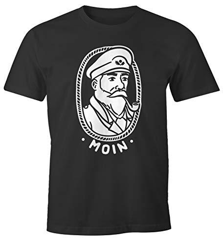 MoonWorks® Herren T-Shirt Kapitän Seemann mit Pfeife Schriftzug Moin Fun-Shirt Spruch lustig anthrazit 4XL