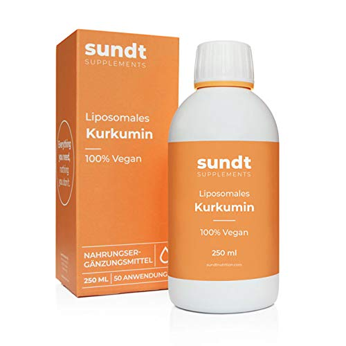 Curcumina liposomal líquida como antioxidante natural contra la inflamación - Frasco de 250 ml - 50 aplicaciones - Vegano y sin OGM - Hecho en la UE - Sundt Nutrition Suplemento alimenticio