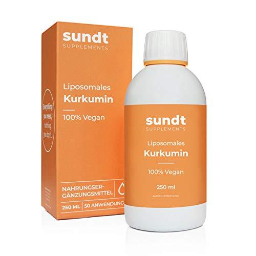 Liposomales Kurkumin in flüssiger Form als natürliches Antioxidnas gegen Entzündungen – 250 ml Flasche – 50 Anwendungen – vegan & GMO-frei – MADE IN EU – Sundt Nutrition Nahrungsergänzung