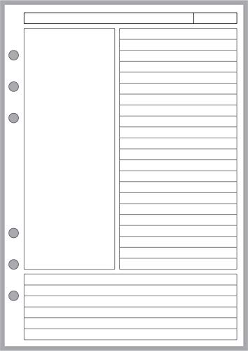 cheap A5 size Cornell style notebook page and 6-ring A5 notebook perforations by Filofax, LV (GM), etc …