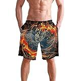 Troncos de natación para Hombre Troncos de natación Dragón de Fuego Protección Solar, Pantalones Cortos Casuales Junto al mar para Ciclismo SPA